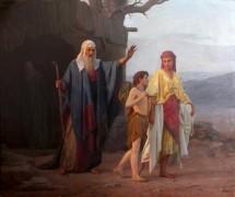 Авраам изгоняет из дома Агарь с сыном её Измаилом. К.  Кудрявцев. 1878  г. Частное собрание