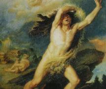 Каин, осуждаемый Господом за братоубийство и бегущий от гнева Божиего. В. Бриоски. 1813 г. ГРМ