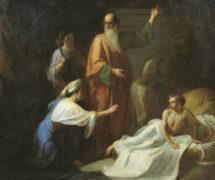 Пророк Илия воскресающий сына Сарептской вдовицы. А. Волков. 1854 г. Таганрогская картинная галерея
