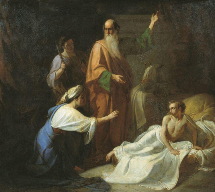 Пророк Илия, воскресающий сына Сарептской вдовицы. А. Волков. 1854 г. Таганрогская картинная галерея