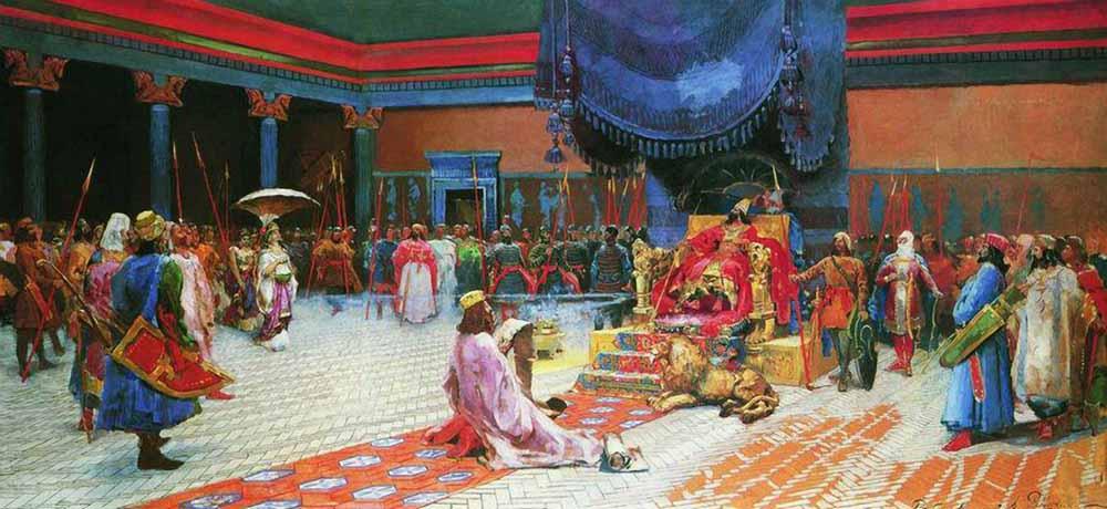 Эсфирь перед Артаксерксом. А. Рябушкин. 1887 г. Государственный Русский музей, СПб