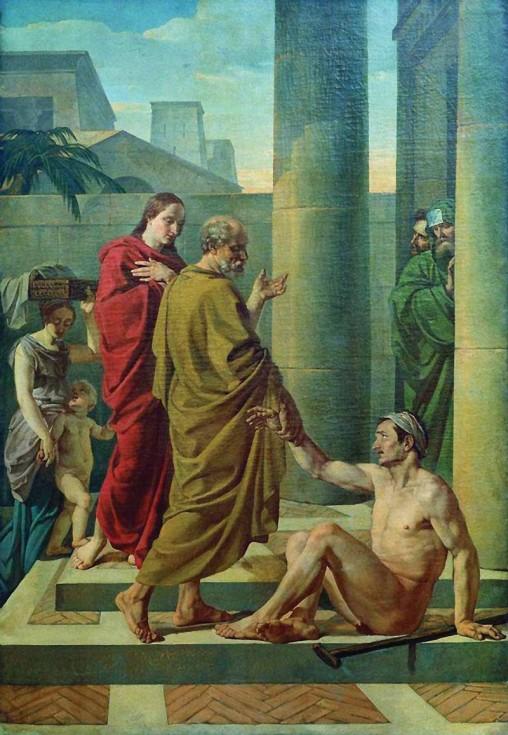 Апостолы Пётр и Иоанн исцеляют хромого. В. Шебуев. 1838 г. ГРМ, СПб