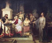 Апостол Павел объясняет догматы веры в присутствии царя Агриппы, Феста. И. Суриков. 1875 г. Государственная Третьяковская галерея
