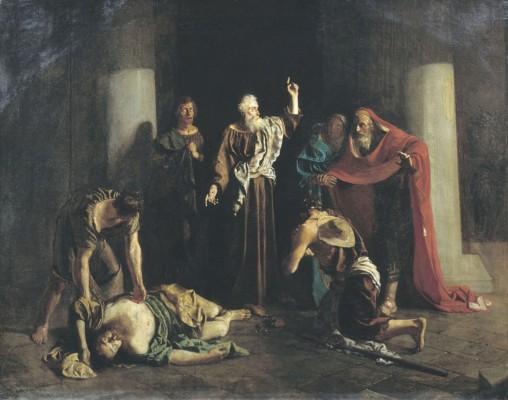 Апостол Пётр поражает смертью Ананию и его жену Сапфиру за ложь. М. Зеленский. 1863 г.