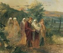 Возвращение с погребения. Эскиз. Н. Ге. 1859 г.