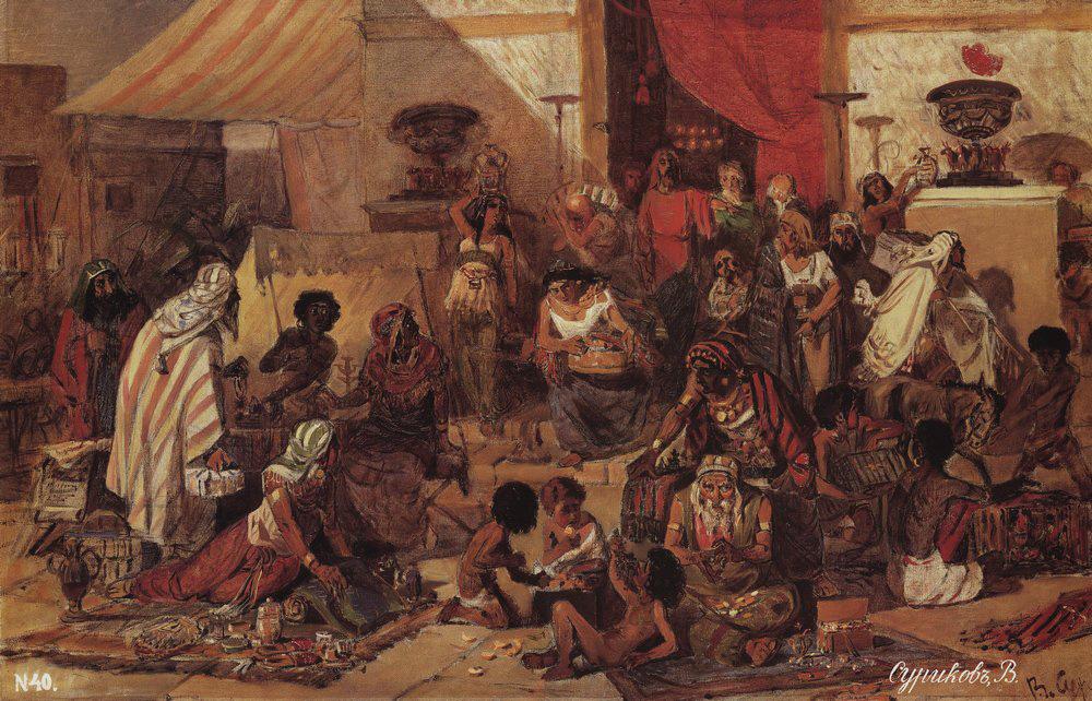 Изгнание торгующих из храма. В. Суриков. 1873 г.