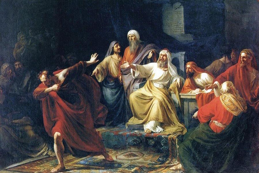 Иуда Искариот, бросающий сребреники. П. Васильев. 1858 г.