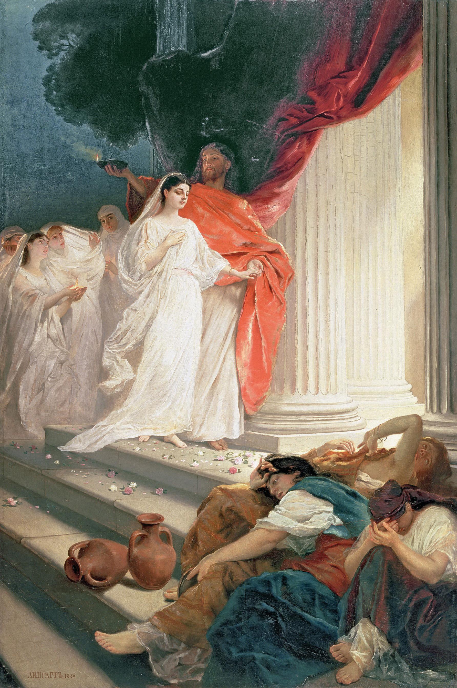 Притча о мудрых и неразумных девах. Э. Липгарт. 1886 г.