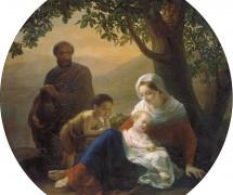 Святое семейство в пути. П. Шамшин. 1858 г.  Государственный Русский музей, СПб