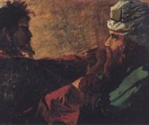 Христос и Никодим. Н. Ге. Эскиз. 1889 г.