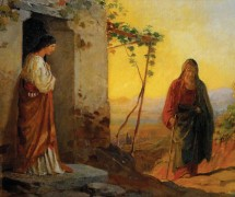 Мария, сестра Лазаря, встречает Иисуса Христа, идущего к ним в дом. Н. Ге. Эскиз. 1864 г. ГТГ